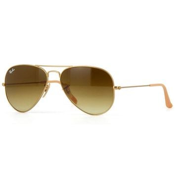 Ray Ban Aviator RB3025 112/85 Sunglasses Gold Frame Brown Gradient Lens 55mm
