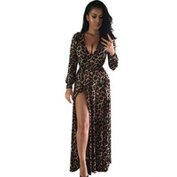 Women Sexy Dress  Fashion Leapord  Dress Long Maxi Women's Dresses Long Sleeve Elegant Evening Party Dress Lady Robes GS