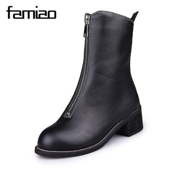 FAMIAO zip boots Ankle Boots Gladiator low heel black shoes women boots 2017 pu round