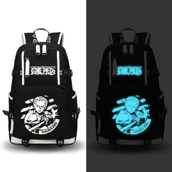 Japanese Anime Bag  One Piece Roronoa Zoro Chopper Luffy Cosplay Printing Laptop Bags Fashion Canvas Women School Backpacks Military Backpack AT_59_4