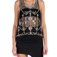 Sequined Mesh Tank - Black
