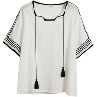 Drawstring Striped Short Sleeve Top