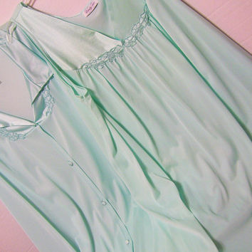 Vanity Fair, Sexy Night Gown, Robe Set, Waltz, Aqua Green, Lingerie, Honeymoon, Hospital, Maternity, Nightgown Set, Mixed Sizes Large -XXXL