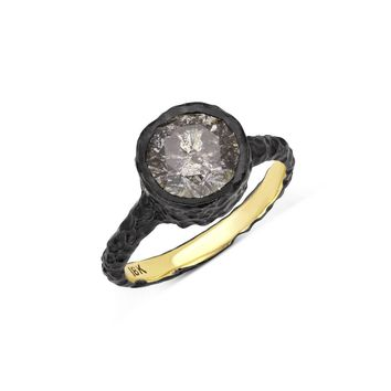 Luxinelle 18K Black Gold Alternative Engagement Ring - 2.25 Ct Gray Salt and Pepper Diamond by Luxinelle® Jewelry