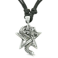 Amulet Magic Star Pentacle and Courage Dragon Pewter Pendant Necklace