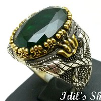 Men's Ring, Turkish Ottoman Style Jewelry, 925 Sterling Silver, Authentic Gift, Traditional Handmade, With Emerald Stone, US Size 11.25, New