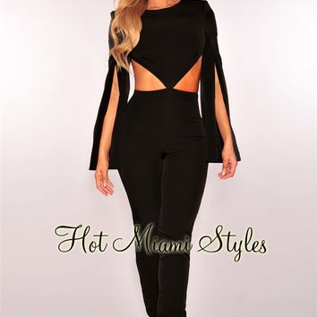 Black Cut Out Slit Bell Sleeves Jumpsuit
