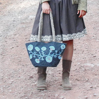 Sky Blue Flower Bag - Felt and Crochet