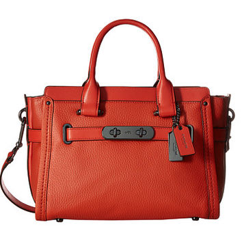 COACH Pebbled Leather Coach Swagger 27 DK/Deep Coral - Zappos.com Free Shipping BOTH Ways