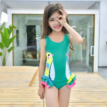 2dbf3786b64e8 Girls Swimwear Cute Kids Swimsuit with Swimming Cap Duck Animal