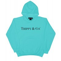 BRIAN LICHTENBERG TURQUOISE TRIPPY & CO HOODIE WITH BLACK INK