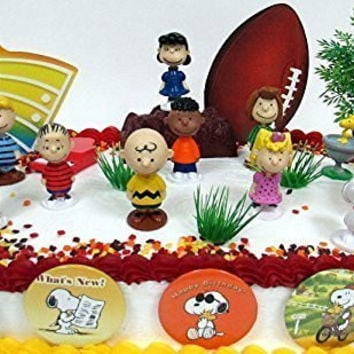 Charlie Brown PEANUTS 18 Piece Birthday CAKE Topper Set Featuring Charlie Brown, Lucy, Snoopy, Linus, Peppermint Patty, Schroeder, Woodstock and More
