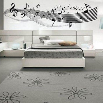 Music Notes Clef Living Room Inspirational Music Decal Vinyl Sticker tr781