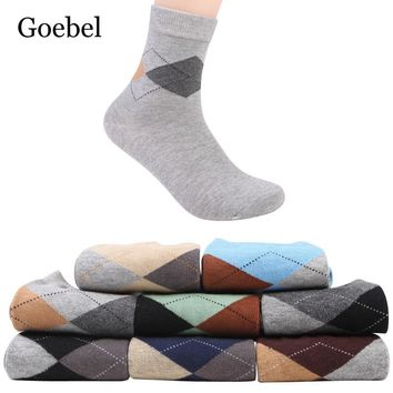 Goebel Classic Diamond Socks Cotton Man Fashion Mens Business Socks Casual In Tube Socks Winter Male 5pairs/lot