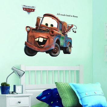3d cartoon Pixar Cars Mater wall stickers for kids room all roads lead to Rome appointment stickers home wall decor 86cm * 65cm SM6