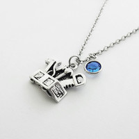Toolbox Necklace, Gift For Repairman, Handyman, Carpenter, Dad, Father's Day Gift, Birthday Jewelry, Swarovski Channel Birthstone Crystal