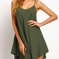 Sundress Army Green Criss Cross Back Spaghetti Strap Dress
