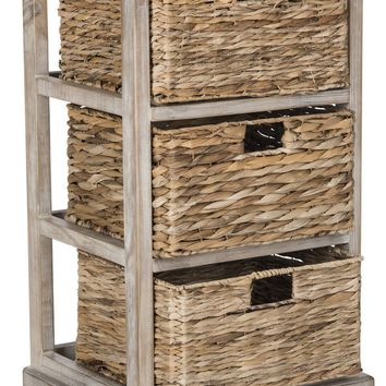 Halle 3 Wicker Basket Storage Side Table Vintage White