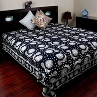 Handmade 100% Cotton Celestial Sun Moon & Star Tapestry Coverlet Black White Full & Queen