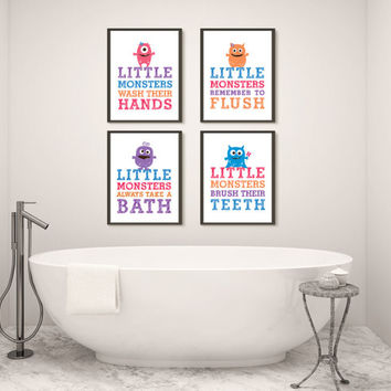 Girl Monster, Four Bathroom Prints, Printed Wall Art for Kids, Choose Size and Materials, Girl Bathroom Rules