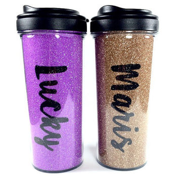 Glitter Travel Mug with Name