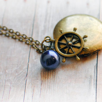 True North Compass Locket Jewelry Antique Locket Necklace Gift Jewelry Ship Wheel Map