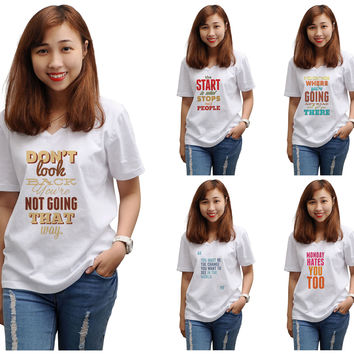 Women Quote-2 Printed V-Neck Short Sleeves T-shirt WTS_16