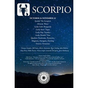 Scorpio Description Astrology Poster 24X36 QUALITIES FAMOUS PEOPLE QUOTES