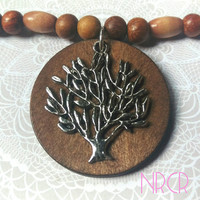 Tree of life Necklace , Pendant ,wood beaded necklace