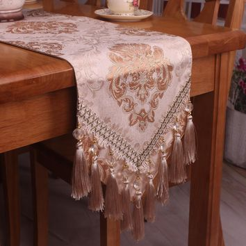 Handmade Elegant Light Brown Table Runner for Formal Occasions / Vintage Floral Exquisite Luxury Table Runners for Wedding