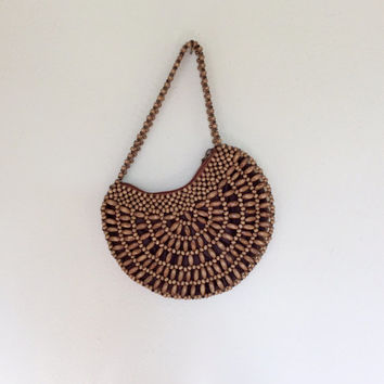 Wooden Bead Handbag / Boho Handbag / Beaded Bag / Small Purse / 70s Retro Handbag / Macrame Handbag