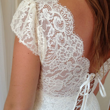 Antique vintage style Cream lace wedding dress by Graceloveslace