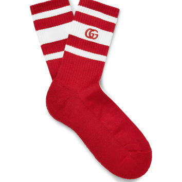 Gucci - Embroidered Striped Stretch Cotton-Blend Socks
