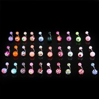 30 X Stripes Ball Belly Navel Button Bar Ring Barbell