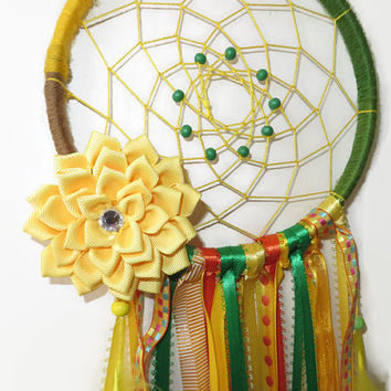 Yellow  Dream Catcher. FREE SHIPPING. Large Dreamcatcher. Baby Mobile.Bohemian Decor. Hanging Decoration.