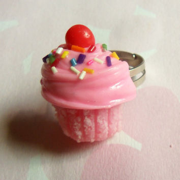 double strawberry polymer clay cupcake ring