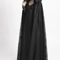 Steampunk gothic mysterious dark witch cosplay costume cape ritual lace long women Halloween cloak cape velvet fabric dust coat