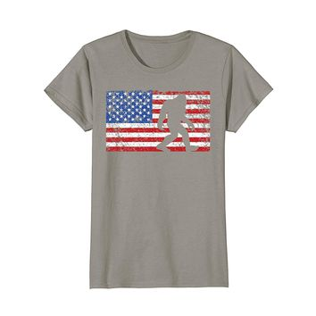 American Flag Bigfoot T-Shirt- Funny 4th of July Sasquatch