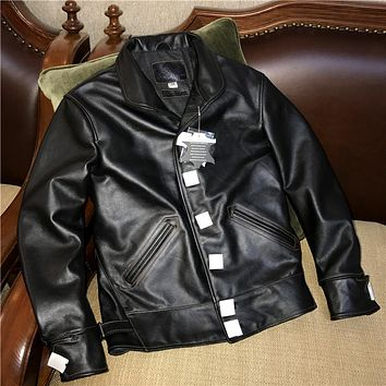 New arrival genuine cow skin biker jacket Mens vintage genuine cowhide leather jacket