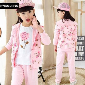 2018 New Spring Baby Girls Clothes Fashion Floral Print Hoodies+Blouse+Pants 3 Pieces Suit Kids Clothes Children Clothing Set