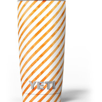 The Grunge Orange and White Slanted Lines Yeti Rambler Skin Kit