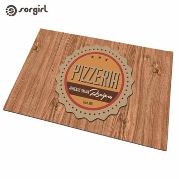 Autumn Fall welcome door mat doormat Pizzeria Raw wood color  Front  Carpet Entrance Indoor eco-friendly natural Anti Slip Floor Mat living room Rug AT_76_7