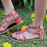 Vegan Gladiator Sandals, Womens Shoes In Hmong Embroidered Brights  Isadora