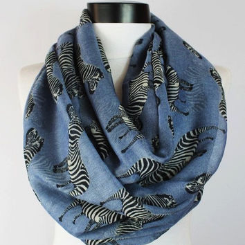 grey zebra scarf,infinity scarf, scarf, scarves, long scarf, loop scarf, gift