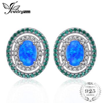 Ocean Star 0.5ct Created Black Opal Simulated Emerald Halo Studs Earrings 925 Sterling Silver
