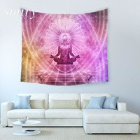 Indian Meditating Figure Yoga Tapestry Wall Hanging