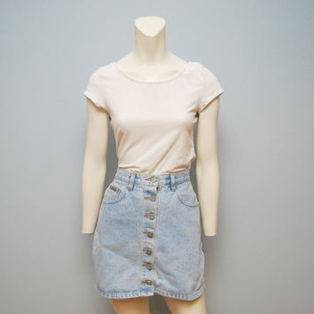 Vintage 1990's Calvin Klein Light Wash Button Up Denim Mini Skirt Size 5 90's Grunge CK Blue Jean Skirt