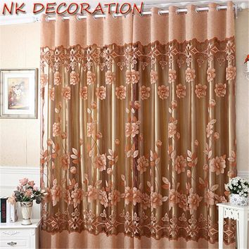 NK Window Screening Flower Tulle Living Room Curtains Voile Valance With Flower For Kitchen Curtains Fabric Drapes Blind 1m*1.5m
