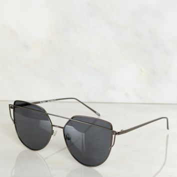 Geometric Sunglasses Solid Gunmetal