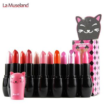 DCCKHY9 12 Colors Moisture Care Lipstick Cute Cat 3.5g Cat Series Lips Makeup Brand MANSLY  #M108